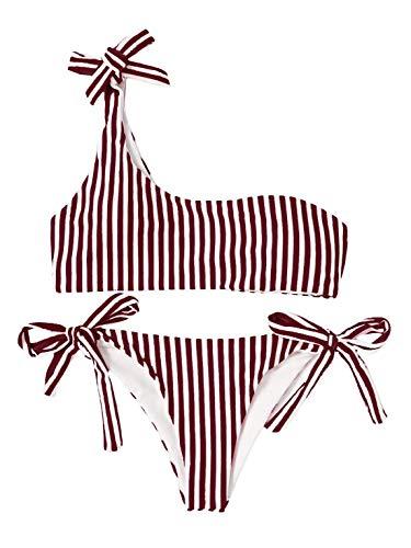 91d19ab1490a heekpek Donna da Bagno Due Pezzi Interi Una Spalla Costumi Sexy Vintage  Push Up Bikini Bowknot
