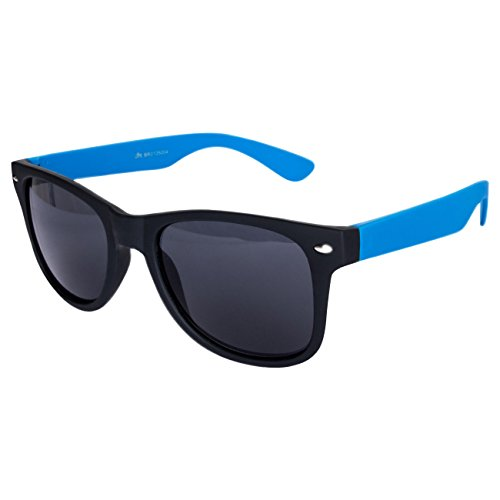 Ciffre Nerdbrille Sonnenbrille Stil Brille Pilotenbrille Vintage Look Blau schwarz gummiert W29