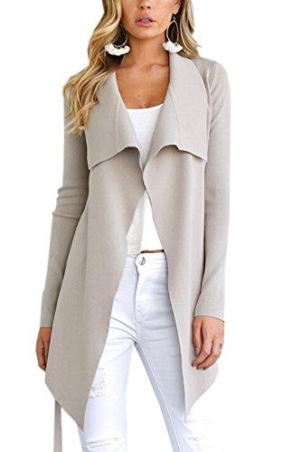 ECOWISH Damen Maxi Offene Cardigan Strickjacke Asymmetrisch Strickmantel Mantel mit Tasche 0949Beige XL