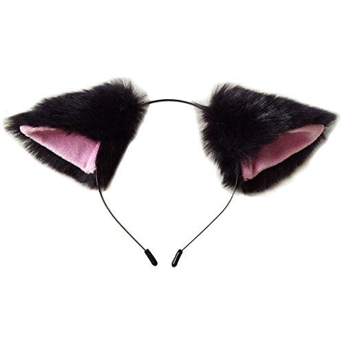 CuteGirl Katze Fox Ohren langem Fell Haar Haarband Anime Cosplay Party Kostüm, schwarz und ()