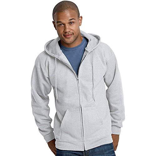 Hanes Ultimate Cotton Full-Zip Fleece Hood 10 Oz Sweatshirt, Ash, L