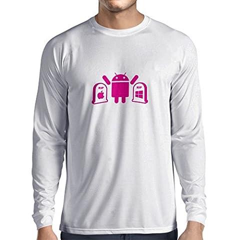 Langarm Herren t shirts Der Gewinner ist Android - Geschenk für Tech-Fans (Large Weiß Magenta)