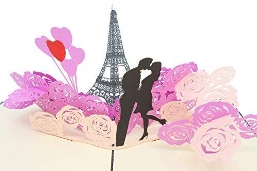 Poplife cards romantico torre eiffel, parigi pop-up carta di san valentino - tutte le occasioni