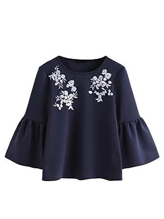 ROMWE Damen Blumen-Stickerei Bluse mit Volant Saum Tropetenärmeln Herbst Winter Pulli Sweatshirt Marineblau S
