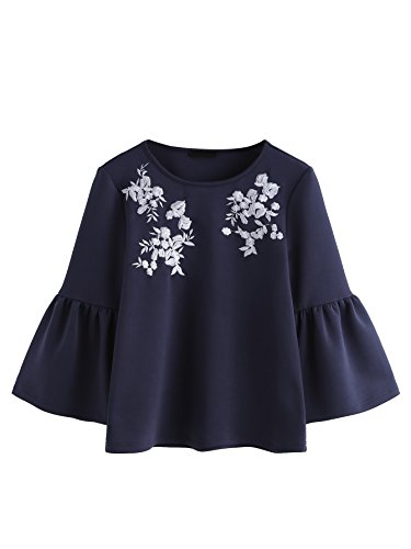 ROMWE Damen Blumen-Stickerei Bluse mit Volant Saum Tropetenärmeln Herbst  Winter Pulli Sweatshirt Mar f3ffd3cfc7