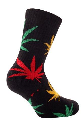 Samson  Negro Algodón calcetines Calle patín para Hombres y Mujeres