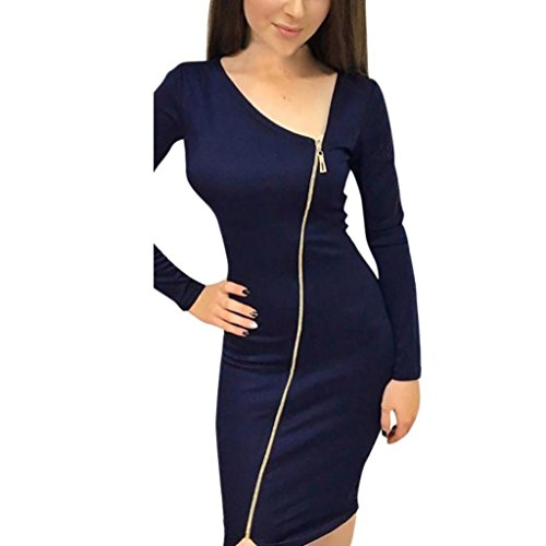 Kanpola Kleider Damen V-Ausschnitt Reißverschluss Casual Solid Langarm Knie Länge lose Party Kleid (Plissee Kleid Satin)