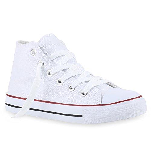 Kinder Turnschuhe Sneakers Schnürschuhe Sportschuhe Stoffschuhe Weiß