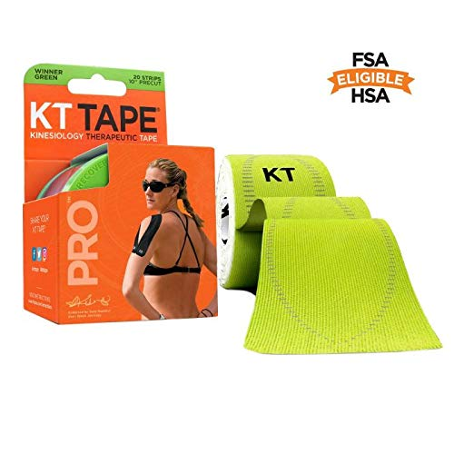 KT Tape Pro Kinesiology Therapeutic Sports Tape, 20 Precut 10 inch Strips, Winner Green, Latex Free, Water Resistance, Pro & Olympic Choice
