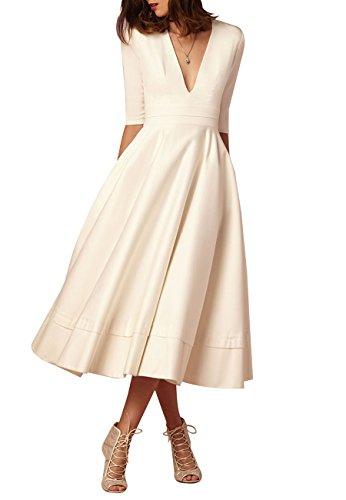 OMZIN Damen Kleid Rockabilly Cocktail Kleid Tief-V-Ausschnitt Hohe Taillen Swing Kleid Weiß L - Weiß Abschlussball V-ausschnitt Kleider