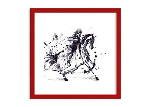 Bild im roten Holzrahmen - Bild im Rahmen - Bild auf Leinwand - Leinwandbilder - Breite: 50cm,...