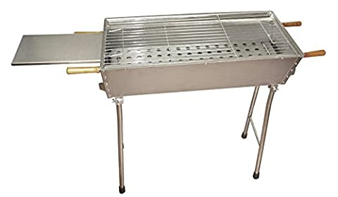 HQ Mangal Elbrus 100% Stainless Steel 1.2mm with Collapsible Feet (x) 70x33x81cm Stainless Charcoal Grill Kebab
