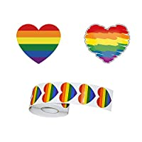 CDJX Rainbow Stickers,Gay Pride Novely Stickers Roll,504 Pcs Hear Shaped Waterproof Removable Rainbow Stickers Temporary Tattoos for Gay Pride Celebrations