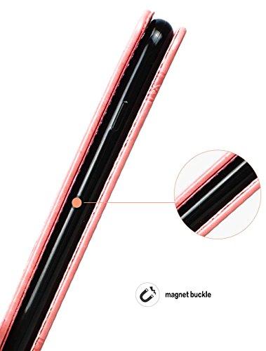 """Coque iPhone 7 Plus, Coque iPhone 8 Plus, SsHhUu Etui Portefeuille en Cuir PU Premium avec Fermeture Magnétique et Stand et Porte cartes avec Stylet + Lanyard pour Apple iPhone 7 Plus 5.5"""" Gris Pink"""