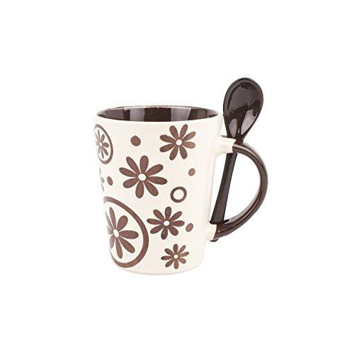 Taza ceramica con cucharilla flores - Beige