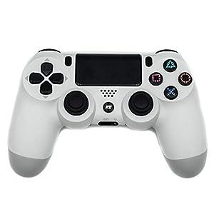 Austrian7 Doubleshock Bluetooth Nachbau Controller für Playstation4, Playstation3 und PC, Gleiche Qualität wie Original, Wireless Gamecontroller mit Vibrationsfeedback, PS4 Gamepad weiß