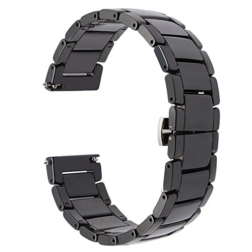 TRUMiRR 22mm Armband, Quick Release Keramik Uhrenarmband Stahl Schmetterling Wölbungsriemen für Samsung Gear 2 Neo Live, Huawei Watch 2 Classic, LG G Watch,MOTO 360 2nd 46MM, Asus ZenWatch 1 2 Männer, (22 Mm Fossil Watch Band)