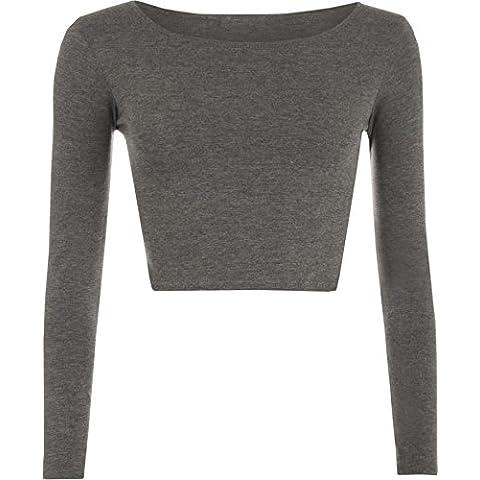 WearAll - Mujeres Manga Larga llanura Recortar la Camiseta Corta Cuello Redondo Top - Gris Oscuro - 36-38