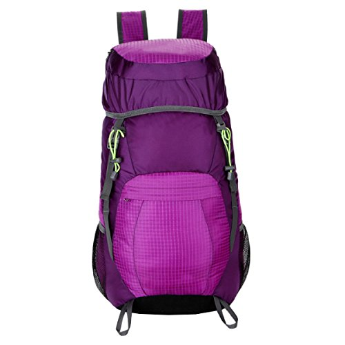 LAIDAYE Außentaschen Sporttaschen Bergsteigen Taschen Freizeitbeutel Schulterbeutel Schüttgutbehälter Falten Wasserdichte Taschen Rucksäcke Purple