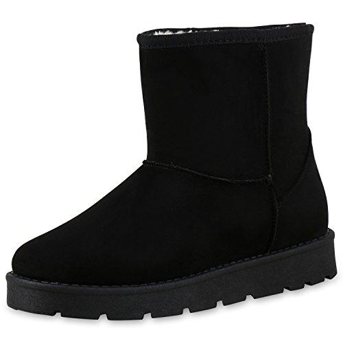 napoli-fashion Bequeme & Warm Gefütterte Damen Schuhe Stiefel Schlupfstiefel Jennika Schwarz Negro