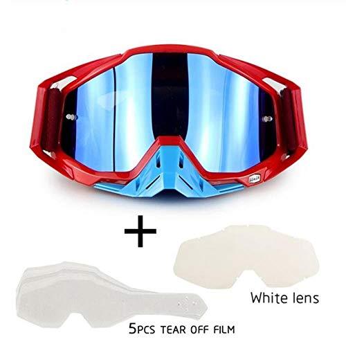 Motocross Helmbrille mit 5 Stück Abreißfolie + Weiße Linse Motorrad Rennen Casco Brille Offroad Gafas Rot