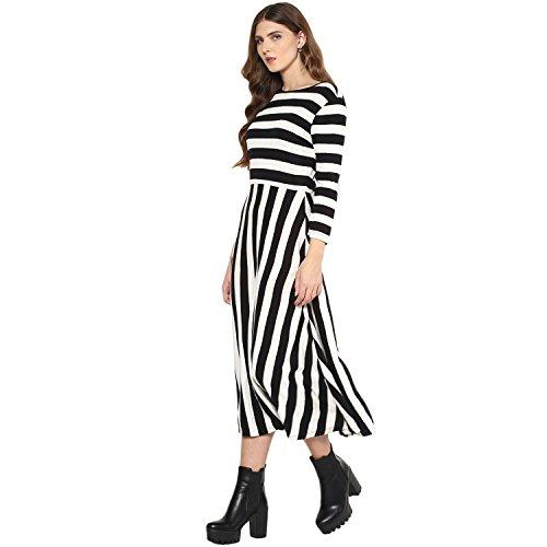 Femella Fashion's Black Bold Stripe Midi Dress (DS-2151102-1415-BAW-L)