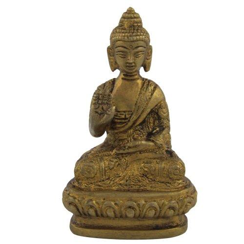 ShalinIndia méditation Statue de Bouddha Assis Statue de Bouddha Laiton Taille : H-3, L-1.75, W-1.25 Pouce