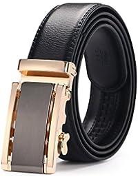 MINHER Cinturones de hombre, cuero automático correa hebilla cinturones 35mm Ancho