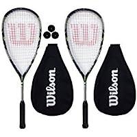 Wilson Lot de 2 raquettes de Squash Force 155 + balles de 3 Squash RRP €225