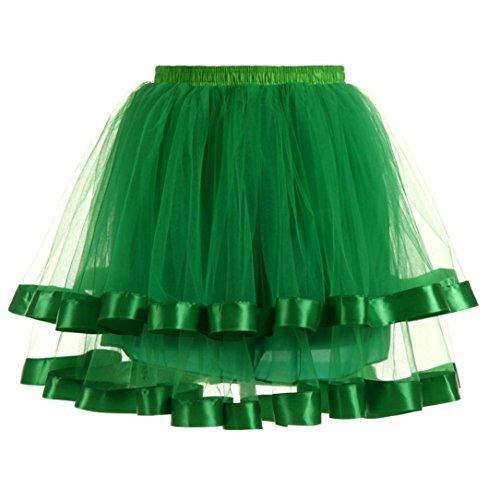 Damen Rock ❀Dragon868 Mode Plissee Mini Röcke Gaze kurzen Rock Erwachsenen Tutu Tanzen Rock (Grün, Freie ()