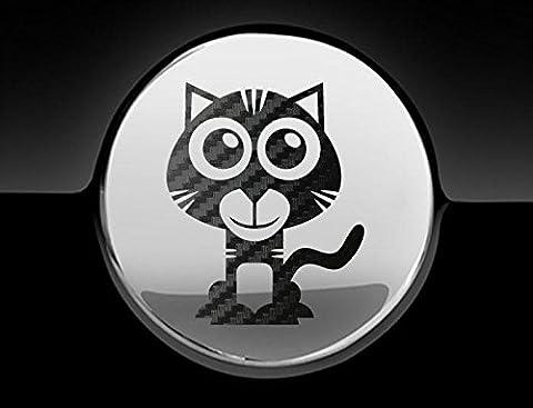 Adorable Tigre Cap carburant de voiture sticker, autocollant, adhésif, Graphic, noir carbone
