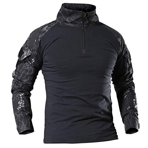 donhobo Herren Tactical Shirts Outdoor Hemd Military Shirt Combat Funktionsshirt Paintball Airsoft Militär Uniform Männer Camouflage BDU T-Shirt 1/4 Reißverschluss (02Schwarz, M)