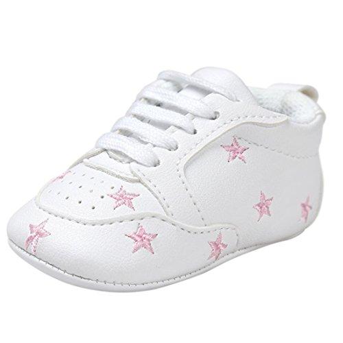 BZLine® PU Cuir Chaussures au lacets, à Motif des étoiles pour Bébés Filles 0-18Mois pink