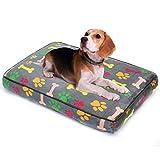 Allisandro Hundebett Waschbar Hundematte 65 * 50 * 8cm Hundekissen Eckig Bones Luxuriöse Hundebette Strapazierfähige Tierkissen, Mehrfarbig