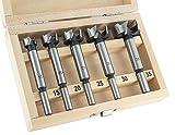 ENT 25100 5-tlg. Forstnerbohrer Set WS Ø 15-20 - 25-30 - 35 mm - Bohrer für einfaches Bohren von Sacklöchern in Weichholz