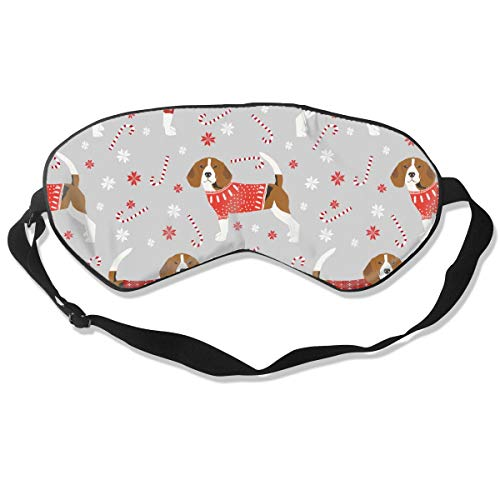 Beagle Christmas Sweater Pepper Stick Candy Cane S Breathable Pure Silk Sleep Eye Mask Best Sleeping Eye Cover for Travel, Nap, Blindfold with Adjustable Strap for Men, Women or Kids - Pure Care Cover Stick