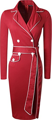 Jeansian Femme Mode Cocktail Fashion Robes Women Dresses Slim Business Sheath Bodycon Pencil Dress WKD299 WineRed