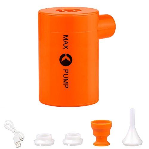 X-Lounger Elektrische Luftpumpe USB wiederaufladbar eingebaute 3600mAh Batterie mit 4 Düsen für aufblasbare Matratze, Kissen, Bett, Boot, Schwimmring