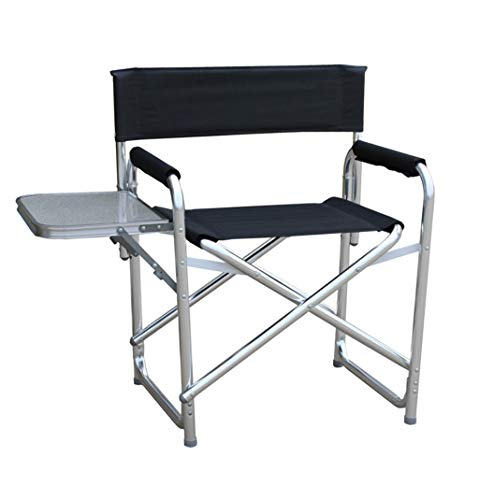 DCCYZ-YJ Aluminium Directors Klappstuhl mit Armlehne Camping Stuhl Angeln Stuhl Gartenstuhl (Farbe : SCHWARZ)