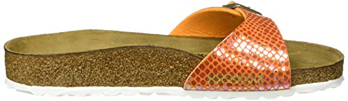 Birkenstock Damen Madrid Birko-Flor Pantoletten Orange (Shiny Snake Orange)