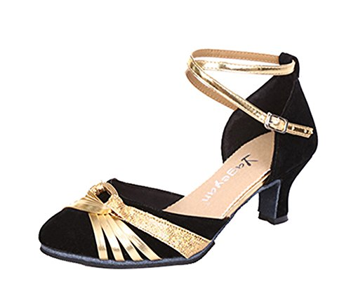 Dayiss Damen angenehme Tanzschuhe mit Absatz Standard & Latein Schwarz-Gold