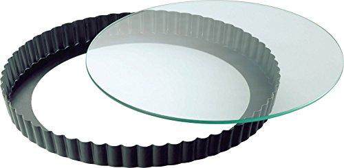 Kaiser Inspiration Quicheform, Ø 28 cm, Obstkuchenform mit Glas-Hebeboden, Wellenrand, antihaftbeschichtet, schnittfest, servierfertig, spülmaschinengeeignet