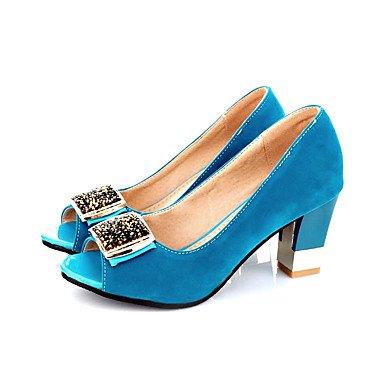 LvYuan Damen-Sandalen-Büro Kleid Party & Festivität-Vlies-Blockabsatz-Club-Schuhe-Schwarz Rot Hellblau Marinenblau Dark Blue