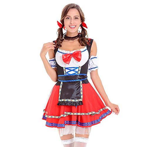 SuperSU Funny Beer Girl Frauen Kostüm Halloween Oktoberfest Kostüm Bayerischer Karneval Kostüme Party Kleid Dienstmädchen Kleidung Gitter rot blau Zwei Farben Kleid Maid Dress (Funny Girl Halloween-kostüm)