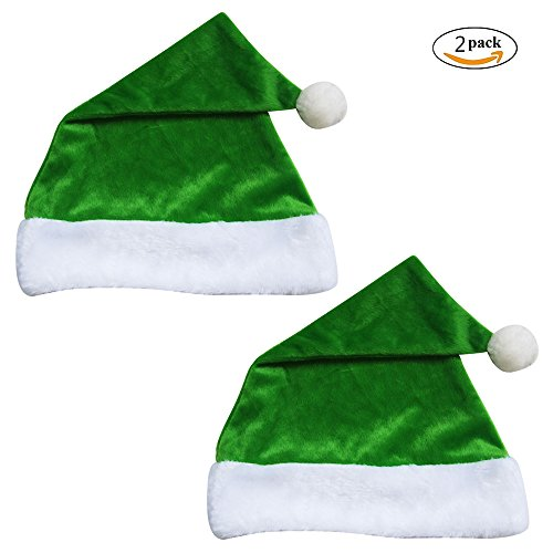 Weihnachtsmützen, Canvalite 2 Stück Plüsch Nikolausmützen Xmas Mützen Grün Geschenk für Erwachsene / (Kopf Halloween Bommel Kostüm)