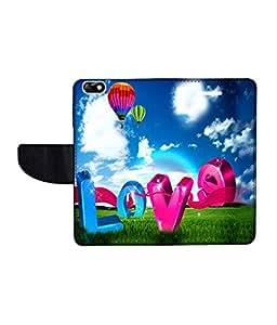 KolorEdge Printed Flip Cover For Huawei Honor 4X Multicolor - (55KeMLogo09026Honor4X)