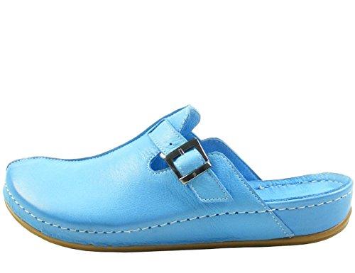 Andrea Conti Damen Clogs 0021541 Leder Pantoletten, Schuhgröße:39;Farbe:Blau (Pantoletten Clogs Leder)