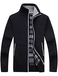c95fbb5b902c75 SWISSWELL Homme Cardigan Veste en Maille Zippé Gilet Ouvrez-Front Chandail  Doublé en Polaire Chaud Sweater avec Col Droit Slim Fit Casual…
