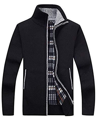 SWISSWELL Herren Strickjacke Cardigan Feinstrick mit Stehkragen Und Fleece-Innenseite Reißverschluss Lang Ärmel Jacke Pullover Coat Mantel Schwarz EU-XS/Herstellergröße-L