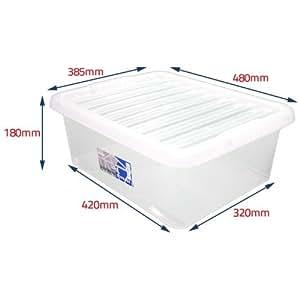 aufbewahrungsbox aus kunststoff inkl deckel geeignet f r die nutzung unterm bett transparent. Black Bedroom Furniture Sets. Home Design Ideas